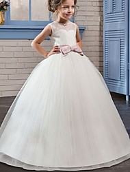 cheap -Princess / Ball Gown Floor Length Wedding / Party Flower Girl Dresses - Tulle Sleeveless Jewel Neck with Bow(s) / Beading / Embroidery