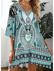 cheap -Women's Shift Dress Knee Length Dress - 3/4 Length Sleeve Tribal Print Summer V Neck Boho Holiday Beach 2020 Blue Purple Yellow Blushing Pink Sky Blue S M L XL XXL