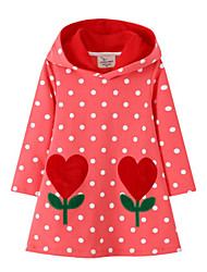cheap -Toddler Girls' Polka Dot Long Sleeve Dress Red