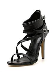 رخيصةأون -نسائي صنادل الصيف كعب ستيلتو أحذية أصبع القدم مناسب للبس اليومي لون سادة PU أسود