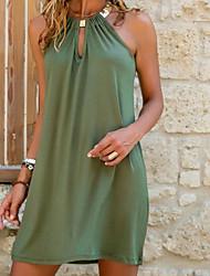 cheap -Women's Shift Dress Short Mini Dress Blue Green Sleeveless Summer Round Neck Hot Sexy vacation dresses 2021 S M L XL XXL 3XL