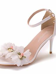 رخيصةأون -نسائي صنادل الصيف كعب ستيلتو حذاء براس مدبب مناسب للبس اليومي ورد PU أبيض