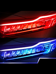 cheap -2PCS New Type Of Ultra Thin Light Guide Strip 45cm Dual Color LED Water Lamp Car Decorative Lamp White Yellow Turn Signal