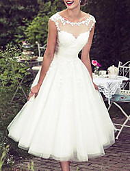 cheap -A-Line Wedding Dresses Jewel Neck Knee Length Lace Tulle Sleeveless Vintage 1950s with Appliques 2020