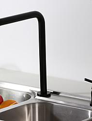 cheap -Kitchen Faucet Single Handle 2 Hole Modern Commercial Sink Faucet High Arc 7 Shape Spout Deck Mounted Contemporary Kitchen Taps Black
