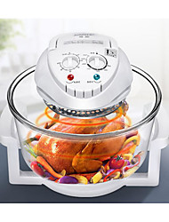 cheap -Halogen Oven Air Fryer Max 12L 1300-Watt Electric Hot Air Fryers Oven & Oilless Cooker for Roasting Grill Nonstick Rotating Control Electric Cut-Off Handle Borosilicate Glass with Manuel Book
