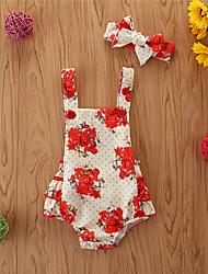 cheap -Baby Girls' Basic Print Sleeveless Bodysuit Red