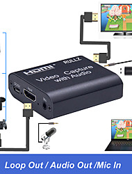 cheap -4K HDMI Video Capture Card W/ 3.5mm Audio Output Mic Input Game Recording Box Support USB2.0 USB 3.0 PC Live Streaming Broadcast