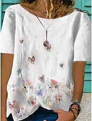 Χαμηλού Κόστους -Γυναικεία Μπλούζα Γραφικά Σχέδια Άριστος Λαιμόκοψη V Φαρδιά Καθημερινά Λευκό Θαλασσί Βυσσινί Τ M L XL 2XL 3XL 4XL 5XL