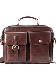 cheap -Men's Bags Cowhide Laptop Bag Briefcase Top Handle Bag Belt Zipper Handbags Daily Office & Career Black Dark Coffee