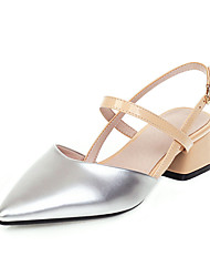 cheap -Women's Sandals Summer Block Heel Pointed Toe Preppy Party & Evening Buckle Color Block PU Almond / Silver