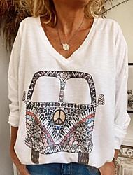 Χαμηλού Κόστους -Γυναικεία Μπλούζα Γκράφιτι Άριστος Στρογγυλή Λαιμόκοψη Καθημερινά Λευκό Θαλασσί Ανθισμένο Ροζ Τ M L XL 2XL 3XL