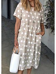 Χαμηλού Κόστους -Γυναικεία Φόρεμα ριχτό Μακρύ φόρεμα - Κοντομάνικο Πουά Καλοκαίρι Καθημερινό Καθημερινά 2020 Χακί M L XL XXL XXXL