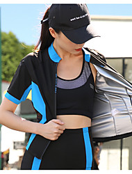 cheap -Women's Tracksuit Jogging Suit 1 set Thermal / Warm Soft Gym Workout Running Walking Fitness Jogging Sportswear Sweatshirt and Pants Jacket and Sweatpants Athletic Clothing Set Black / Blue Black+Gray