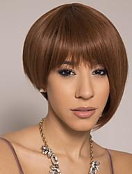 cheap -Remy Human Hair Wig Short Silky Straight Pixie Cut Brown Easy to Carry Natural New Capless Brazilian Hair Burmese Hair Women's Medium Auburn#30 14 inch