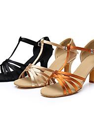cheap -Women's Dance Shoes Latin Shoes Heel Cuban Heel Black Gold Brown / Satin