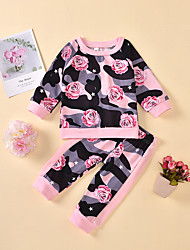 cheap -Baby Girls' Active Chinoiserie Rose Floral Print Long Sleeve Regular Regular Clothing Set Blushing Pink