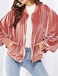 baratos -Mulheres Jaqueta Diário Padrão Sólido Rosa S / M / L