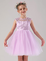 cheap -Princess / Ball Gown Medium Length Wedding / Birthday Flower Girl Dresses - Satin / Tulle Sleeveless Jewel Neck with Beading / Appliques / Solid