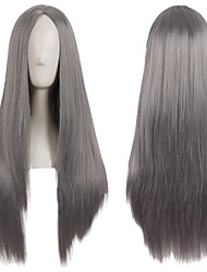 cheap -Synthetic Wig Natural Straight Middle Part Wig Long Brown Blonde Grey Pink Green Synthetic Hair 28 inch Women's Creative Party Fashion Brown Gray