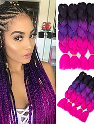 cheap -Crochet Hair Braids Jumbo Box Braids Ombre Synthetic Hair 24 inch Braiding Hair 6pcs 3pcs 1pc