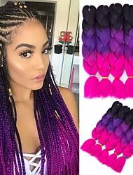 cheap -Crochet Hair Braids Jumbo Box Braids Ombre Synthetic Hair Braiding Hair 6pcs 3pcs 1pc