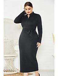 cheap -Women's Sheath Dress Midi Dress - Long Sleeve Solid Color Zipper Fall Sexy 2020 Wine Black Blue XL XXL XXXL XXXXL XXXXXL