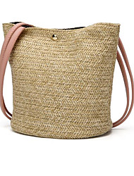cheap -Women's Bags Straw Top Handle Bag for Daily / Holiday White / Blushing Pink / Brown / Straw Bag