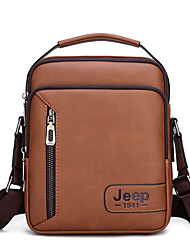 cheap -Men's Zipper PU Leather Crossbody Bag Handbags Dark Brown / Black / Khaki