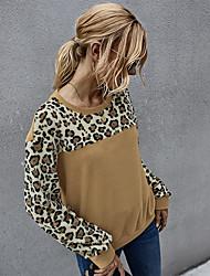 povoljno -Žene Pulover duks Leopard Osnovni Hoodies majica Obala Braon Sive boje