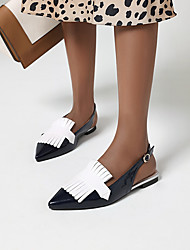 cheap -Women's Sandals Summer Flat Heel Pointed Toe Minimalism Daily Buckle Color Block PU Black / Purple / Yellow