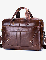 cheap -Men's Bags Cowhide Shoulder Messenger Bag Laptop Bag Briefcase Belt Zipper Handbags Daily Office & Career Brown