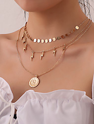 cheap -Women's Pendant Necklace Chain Necklace Necklace Stacking Stackable Lightning Simple Classic Rustic Trendy Chrome Gold Silver 55 cm Necklace Jewelry 1pc For Anniversary Party Evening Street Beach