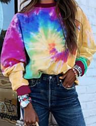 cheap -Women's Tie Dye Rainbow Long Sleeve Round Neck Tops Loose Basic Top Rainbow