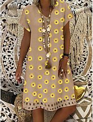 povoljno -Žene Haljina A-kroja Haljina do koljena - Kratkih rukava Print Ljeto Boho Dnevno 2020 Crn Plava Red Bijela žuta Žutomrk Djetelina Sive boje S M L XL XXL XXXL XXXXL XXXXXL