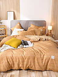 cheap -Solid Color Simple Style Bed Sets 4 pcs Duvet Cover Bed Sheet Pillowcases Cover Set