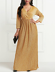 cheap -Women's Maxi long Dress - 3/4 Length Sleeve Pleated Summer V Neck Formal 2020 Gold S M L XL XXL
