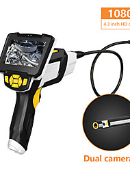 cheap -Portable Dual Lens Handheld Endoscope 4.3Screen Inspection Camera with 6 LED 8mm Industrial Digital Endoscopy With 32GB TF Card