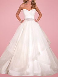 cheap -Ball Gown Wedding Dresses Sweetheart Neckline Court Train Tulle Sleeveless Formal with Sashes / Ribbons 2021