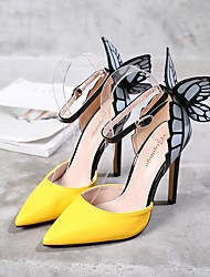 cheap -Women's Heels Summer Pumps Pointed Toe Daily Solid Colored PU Purple / Yellow