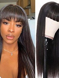 cheap -Remy Human Hair Wig Short Straight Neat Bang Natural Black Party Women Easy dressing Machine Made Capless Brazilian Hair Malaysian Hair Women's Girls' Natural Black 20 inch