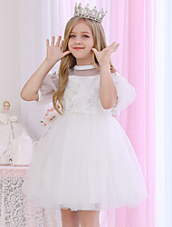 cheap -Princess / Ball Gown Medium Length Event / Party / Birthday Flower Girl Dresses - Satin / Tulle 3/4 Length Sleeve Illusion Neck / Halter Neck with Beading / Appliques / Solid