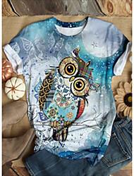 Χαμηλού Κόστους -Γυναικεία T-shirt Ζώο Άριστος Στρογγυλή Λαιμόκοψη Καθημερινά Θαλασσί Βυσσινί Ρουμπίνι M L XL 2XL 3XL 4XL 5XL