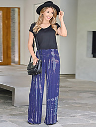 cheap -Women's Basic Wide Leg Pants - Tie Dye White Blue Blushing Pink S / M / L