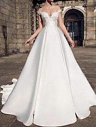cheap -A-Line Wedding Dresses V Neck Court Train Lace Satin Sleeveless Formal with Appliques 2021