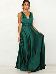 cheap -Women's Sheath Dress Maxi long Dress Blushing Pink Green Sleeveless Solid Color Backless Summer V Neck Hot Sexy 2021 M L XL