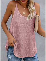 cheap -Women's Holiday Camisole Tank Top Color Block U Neck Basic Vacation Tops Cotton White Blue Blushing Pink