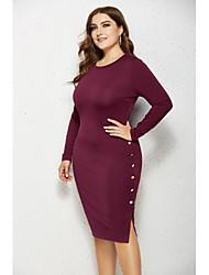 cheap -Women's T Shirt Dress Tee Dress Knee Length Dress - Long Sleeve Solid Color Spring Fall Casual Elegant 2020 Wine Black Green Gray XXL XXXL XXXXL XXXXXL
