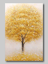 cheap -Oil Painting Hand Painted Abstract Abstract Landscape Comtemporary Modern Stretched Canvas Beige Trees With Stretched Frame