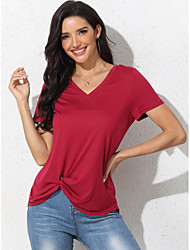 cheap -Women's Blouse Solid Colored Tops V Neck Daily Summer Red XS S M L